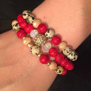 Red & Cheetah Bracelet Set